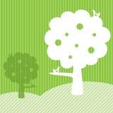 Disegno del blocco per grafici del modello con gli alberi ed il campo verde Immagine Stock