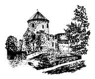 Disegno del castello vecchio nell'illustrazione disegnata a mano di Cesis illustrazione di stock