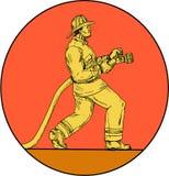 Disegno del cerchio di Holding Fire Hose del pompiere del vigile del fuoco illustrazione vettoriale