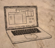 Disegno del computer portatile Fotografia Stock Libera da Diritti