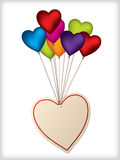 Disegno del contrassegno del biglietto di S. Valentino con i palloni Fotografia Stock