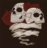 Disegno del cranio dello zucchero con le rose e la bandiera Immagini Stock Libere da Diritti