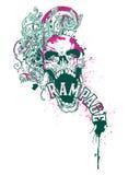 Disegno del cranio di furia Fotografia Stock Libera da Diritti