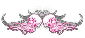 Disegno del cranio nel colore rosa Fotografia Stock Libera da Diritti