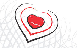 Disegno del cuore del biglietto di S. Valentino Fotografia Stock Libera da Diritti