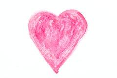 Disegno del cuore dell'acquerello Fotografia Stock Libera da Diritti