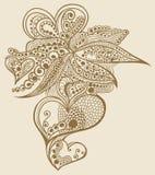 Disegno del cuore di doodle del hennè Fotografia Stock Libera da Diritti