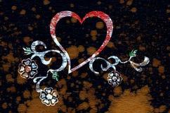 Disegno del cuore e floreale Immagini Stock Libere da Diritti