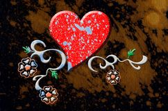 Disegno del cuore e floreale illustrazione di stock