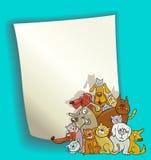 Disegno del fumetto con i gatti ed i cani Fotografia Stock Libera da Diritti