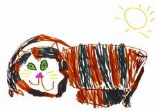 Disegno del gatto di Childs Fotografie Stock Libere da Diritti