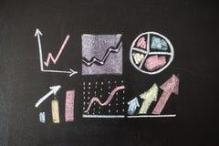 Disegno del grafico sulla lavagna Immagini Stock