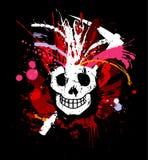 Disegno del grunge del cranio per la maglietta illustrazione di stock