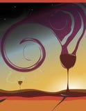 Disegno del manifesto e dell'aletta di filatoio del vino Fotografie Stock