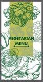 Disegno del menu del ristorante Alimento vegetariano Vettore Fotografie Stock Libere da Diritti