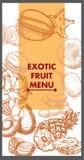 Disegno del menu del ristorante Frutta esotica Vettore Immagini Stock Libere da Diritti