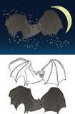 Disegno del pipistrello di vampiro Fotografie Stock