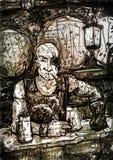 Disegno del Pirata-locandiere calvo cieco da un occhio Fotografia Stock