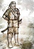 Disegno del pirata munito anziano con la spada Immagini Stock Libere da Diritti