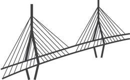 Disegno del ponte strallato, viadotto di Millau, Francia illustrazione di stock