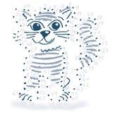 Disegno del punto con un piccolo gatto Fotografia Stock