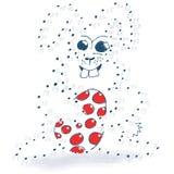 Disegno del punto e pagina di coloritura con il coniglietto Immagini Stock