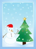 Disegno del pupazzo di neve Immagini Stock Libere da Diritti