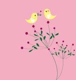 Disegno del reticolo della scheda del fiore e dell'uccello Immagine Stock
