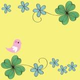Disegno del reticolo della scheda del fiore e dell'uccello Fotografia Stock Libera da Diritti