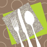 Disegno del ristorante con la siluetta della coltelleria Fotografia Stock