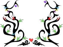 Disegno del tatuaggio con i fiori ed il vettore dei cuori Immagine Stock Libera da Diritti
