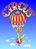 Disegno del tema del cirque - clown in un pallone con illustrazione vettoriale