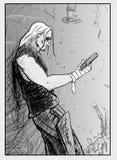 Disegno del tipo con una pistola in sua mano Fotografie Stock Libere da Diritti