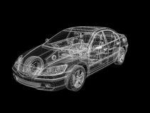 disegno del wireframe 3D dell'automobile illustrazione di stock