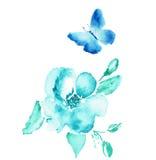 Disegno dell'acquerello del fiore e della farfalla Vettore Immagine Stock