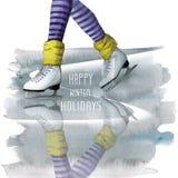 disegno dell'acquerello di una gamba in pattini bianchi su ghiaccio, sport, corsa con gli sci, inverno, per una cartolina con un  illustrazione di stock
