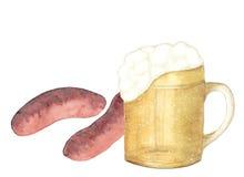 Disegno dell'acquerello, simbolo di Oktoberfest, isolato Illustrazione di Stock