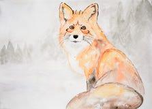 Disegno dell'acquerello, volpe rossa nella neve royalty illustrazione gratis
