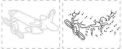 Disegno dell'aeroplano con i punti e le cifre Immagini Stock Libere da Diritti