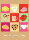 Disegno dell'alimento di concetto del biglietto di S. Valentino Fotografia Stock
