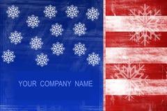 Disegno dell'estratto della bandiera americana con i fiocchi di neve Fotografie Stock