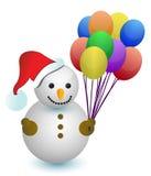 Disegno dell'illustrazione degli aerostati della holding del pupazzo di neve Fotografia Stock Libera da Diritti