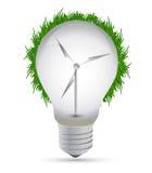 Disegno dell'illustrazione della lampadina di eco del mulino a vento Fotografia Stock