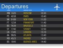 Disegno dell'illustrazione della tabella di partenza di tempo dell'aeroporto royalty illustrazione gratis