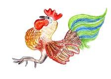Disegno dell'illustrazione di un gallo nello stile Immagini Stock