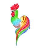 Disegno dell'illustrazione di un gallo nello stile Fotografia Stock Libera da Diritti
