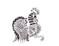 Disegno dell'illustrazione di un gallo in uno stile di schizzo Fotografia Stock