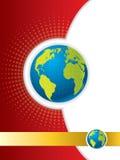 Disegno dell'opuscolo con il globo Fotografia Stock Libera da Diritti