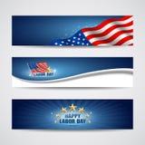 Disegno della bandiera degli S.U.A. di Festa del Lavoro Immagine Stock