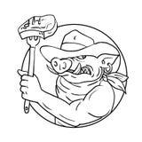 Disegno della bistecca del barbecue di Wild Pig Holding del cowboy in bianco e nero royalty illustrazione gratis